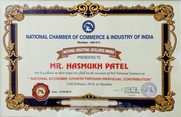 Certificate from National Chamber of Commerce & Industries of India
