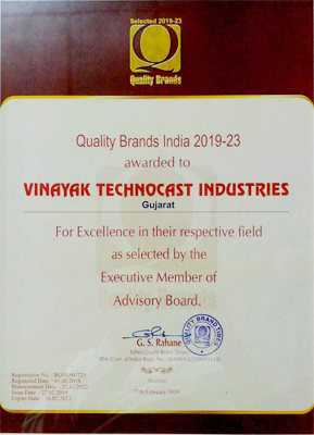 Certificate from Quality Brands of India 2019-2023